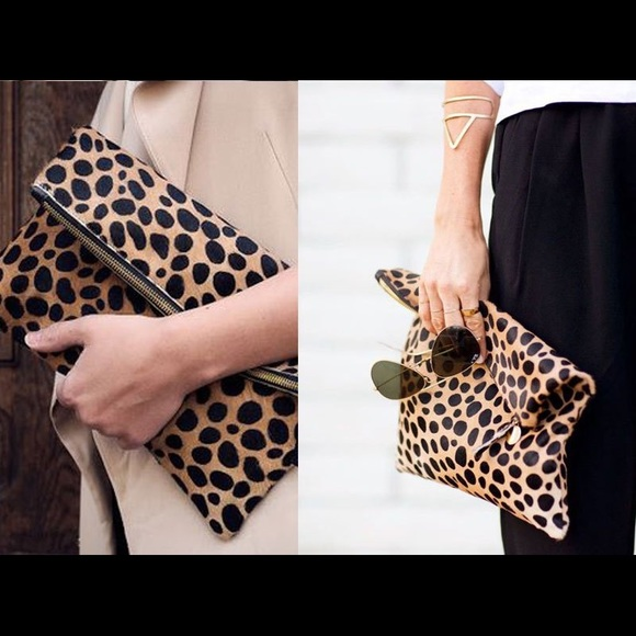 b4f260895 Clare Vivier Bags | Clare V Leopard Print Fold Over Clutch | Poshmark